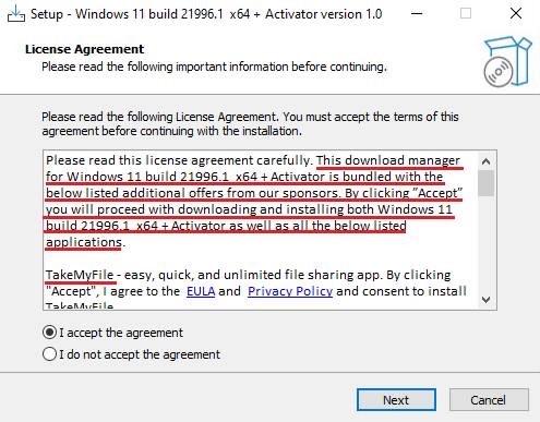 其中一款偽裝成 Windows 11 安裝檔的惡意軟件會下載另一個偽裝成下載管理軟件的惡意軟件。