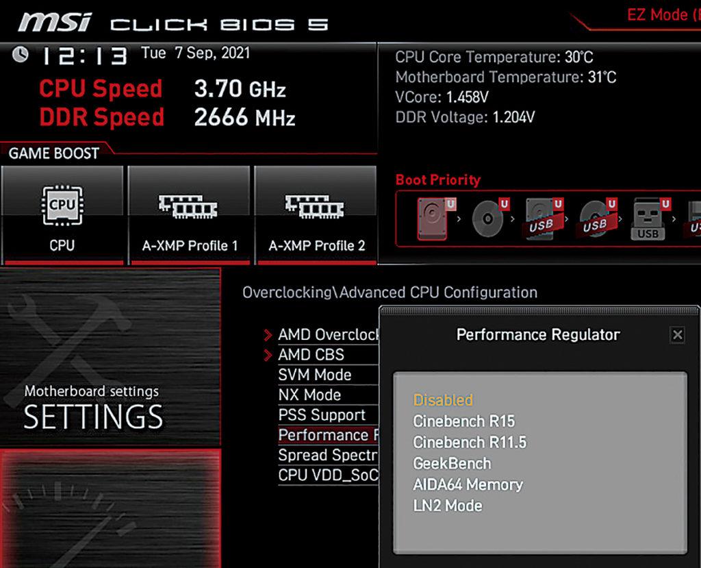 BIOS 有不少針對玩家的功能,如 Performance Regulator 便有 LN2 Mode 等項目可選。