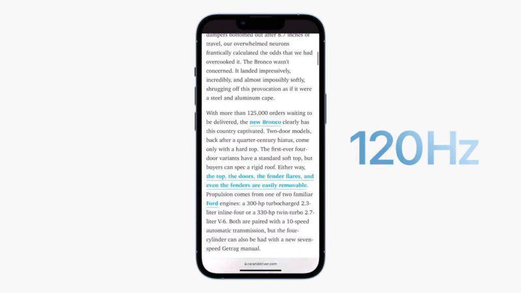 ProMotion 屏幕會因應顯示內容改變刷新率由 10Hz 至最高 120Hz 。