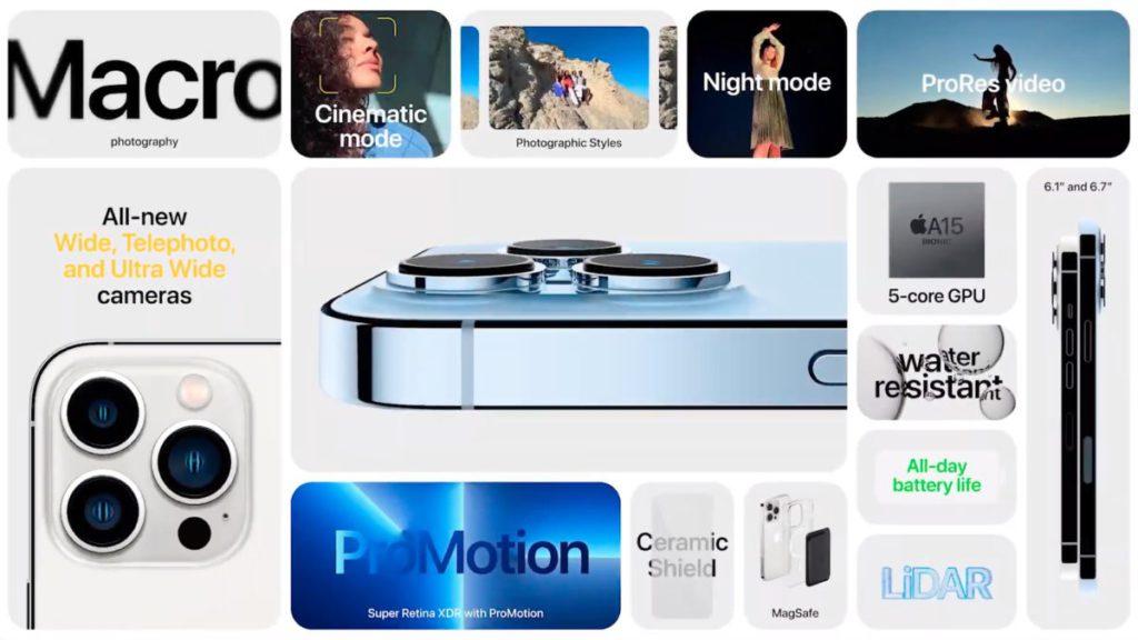 iPhone 13 Pro 系列在鏡頭、屏幕刷新率以至 GPU 核心都較 iPhone 13 系列優勝。